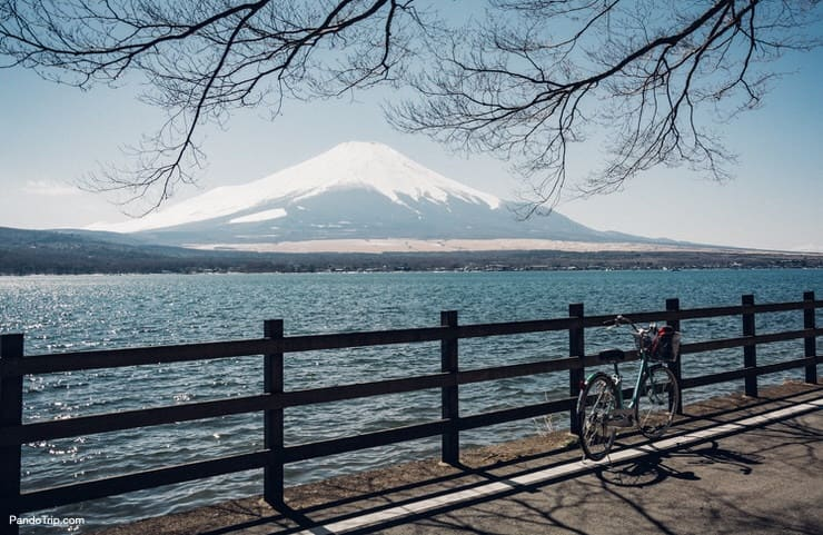View of Fuji mountain and Yamanaka-ko Lake