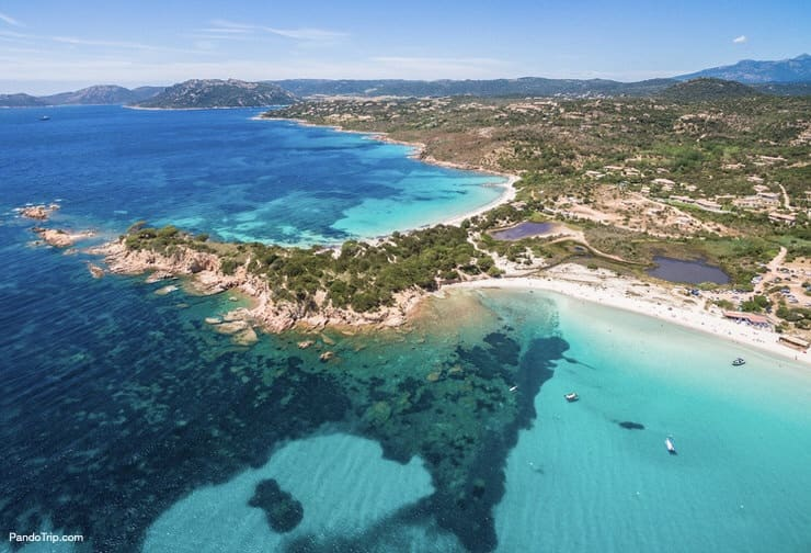 Aerial view of Palombaggia beach, Corsica Island, France