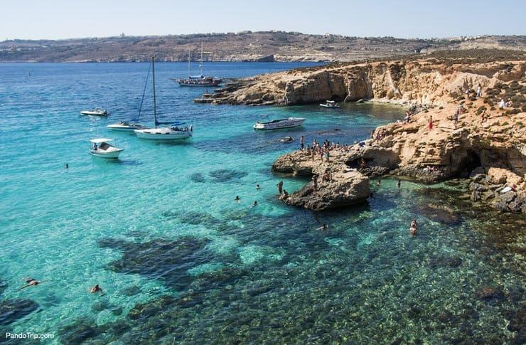 Blue Lagoon and mountainous coast, Malta
