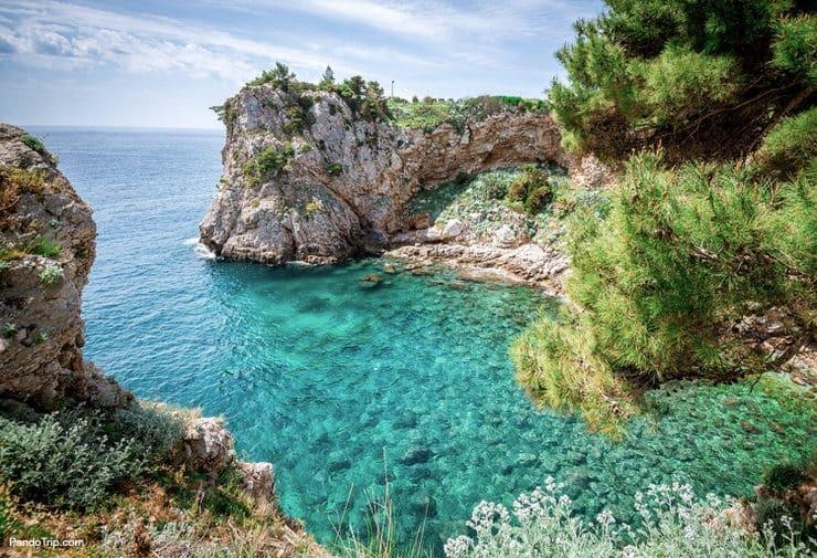 Crystal clear water of Adriatic Sea in Dubrovnik, Croatia