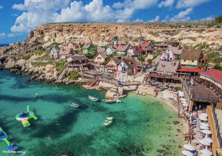 Famous Popeye Village at Anchor Bay in Malta