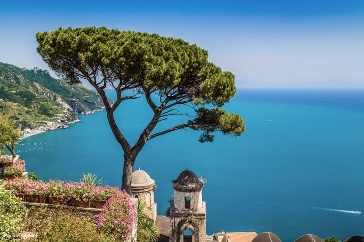 Famous view of Ravello, the Amalfi Coast, Italy