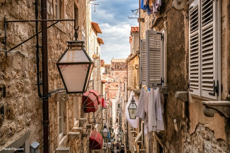 Narrow streets of Dubrovnik in Croatia