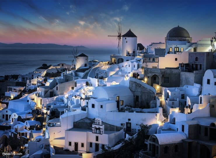 Oia village by night. Santorini, Greece
