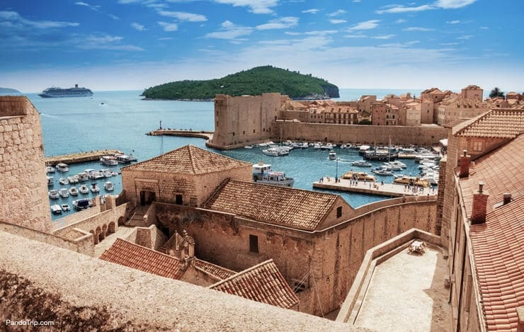 View from the old city walls to Dubrovnik port
