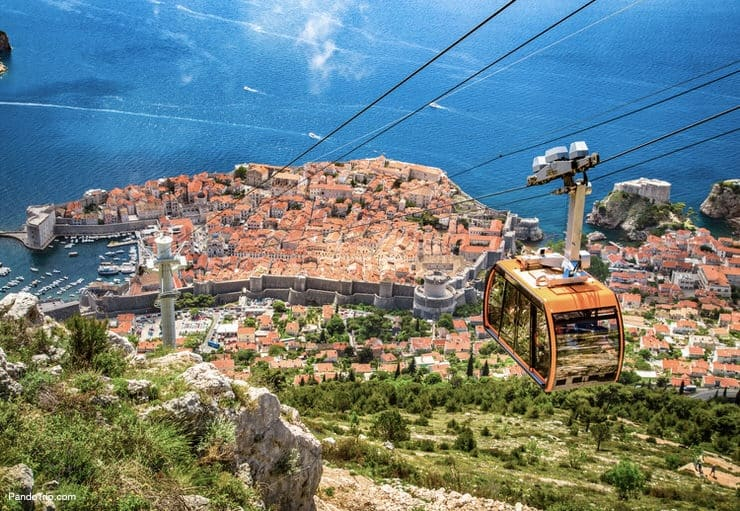 View of Dubrovnik with famous Cable Car on Mount Srd