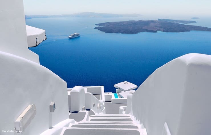White stairs on Santorini Island, Greece