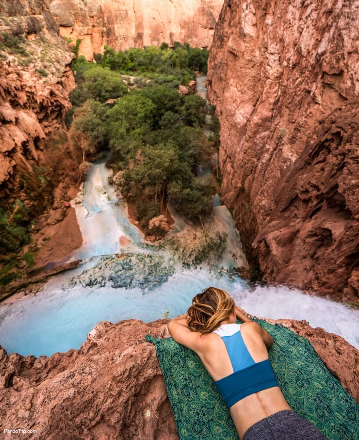At the top of Havasu Falls